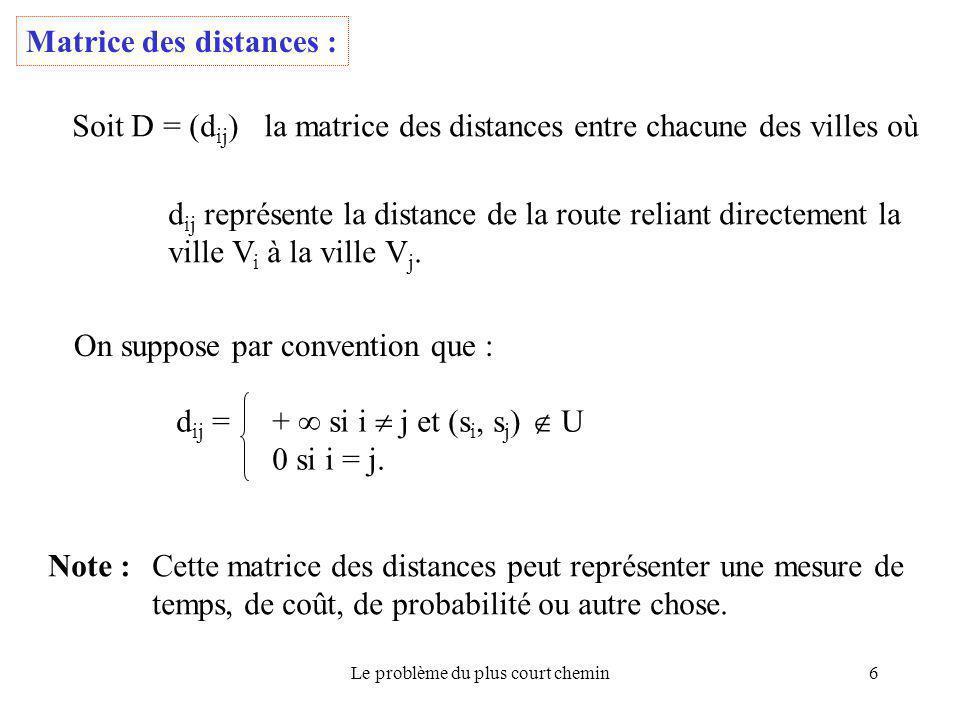 Le problème du plus court chemin6 Matrice des distances : Soit D = (d ij ) la matrice des distances entre chacune des villes où d ij représente la dis