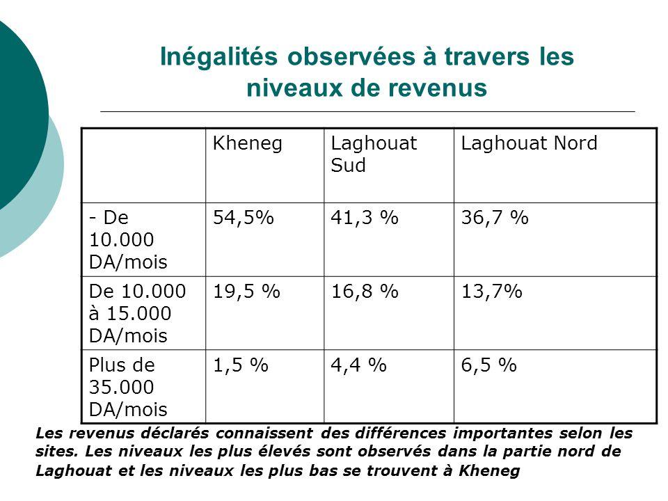 Inégalités observées à travers les niveaux de revenus KhenegLaghouat Sud Laghouat Nord - De 10.000 DA/mois 54,5%41,3 %36,7 % De 10.000 à 15.000 DA/mois 19,5 %16,8 %13,7% Plus de 35.000 DA/mois 1,5 %4,4 %6,5 % Les revenus déclarés connaissent des différences importantes selon les sites.