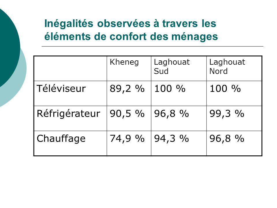 Inégalités observées à travers les éléments de confort des ménages KhenegLaghouat Sud Laghouat Nord Téléviseur89,2 %100 % Réfrigérateur90,5 %96,8 %99,3 % Chauffage74,9 %94,3 %96,8 %