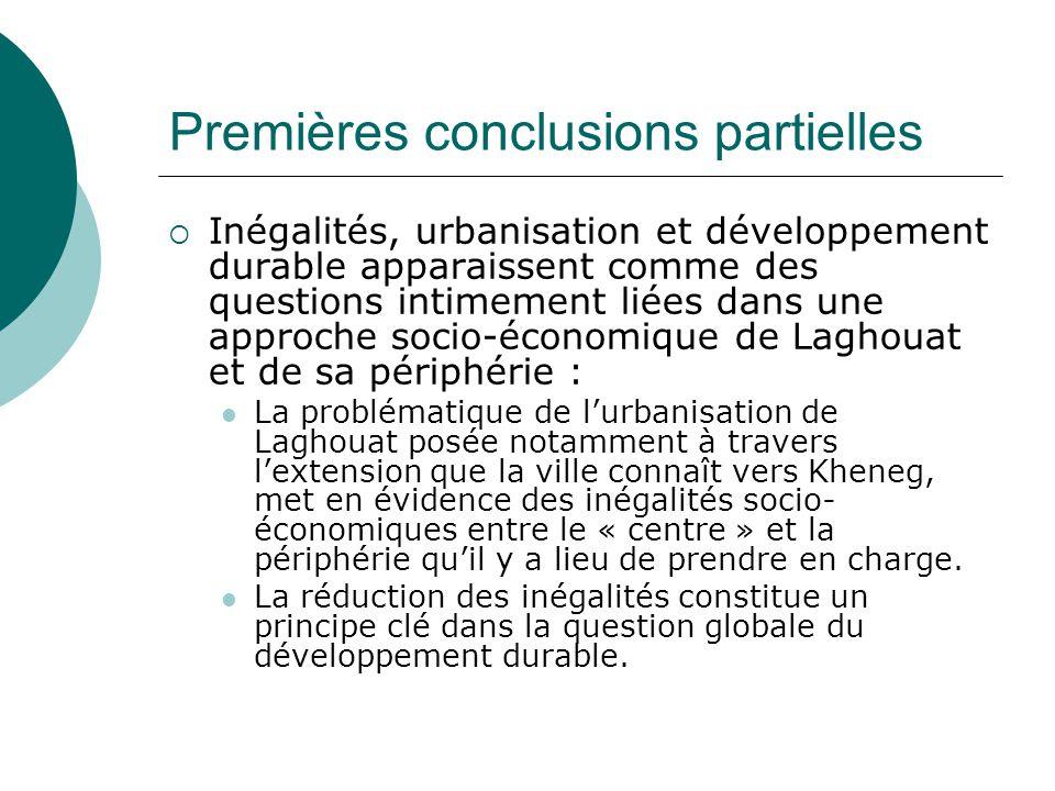 Premières conclusions partielles  Inégalités, urbanisation et développement durable apparaissent comme des questions intimement liées dans une approc
