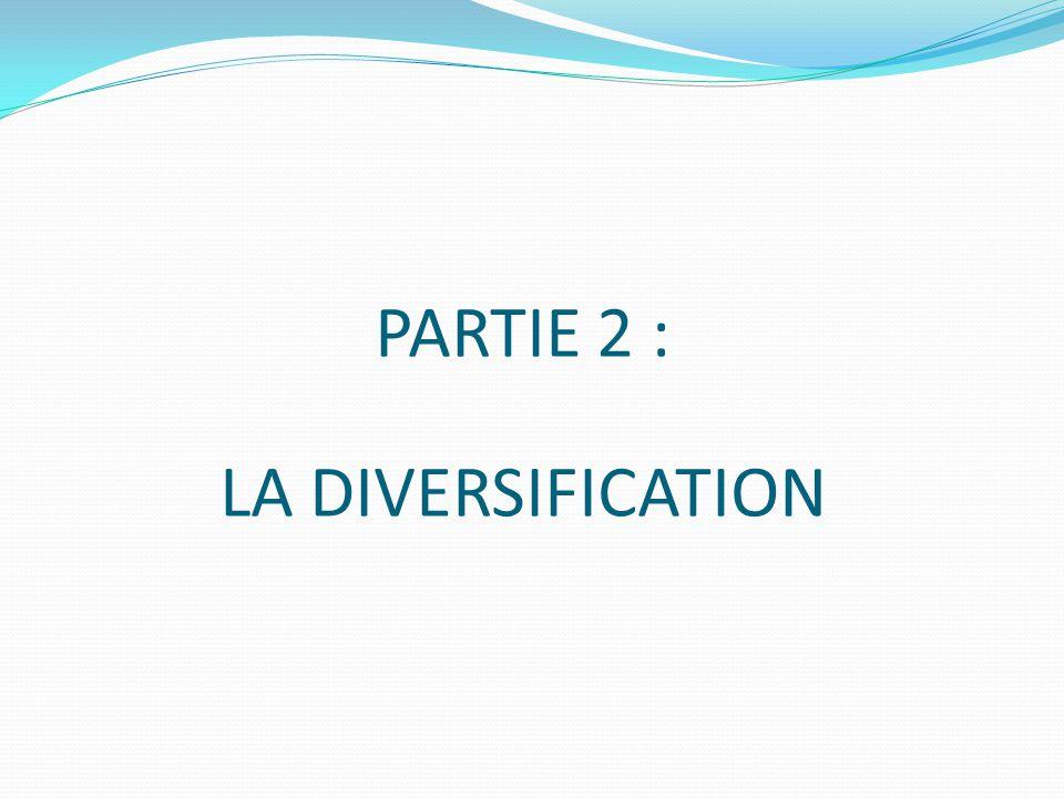 PARTIE 2 : LA DIVERSIFICATION