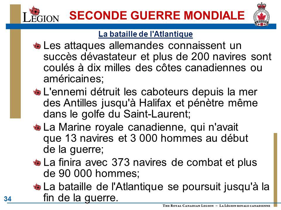34 SECONDE GUERRE MONDIALE L ennemi détruit les caboteurs depuis la mer des Antilles jusqu à Halifax et pénètre même dans le golfe du Saint-Laurent; La bataille de l Atlantique La bataille de l Atlantique se poursuit jusqu à la fin de la guerre.