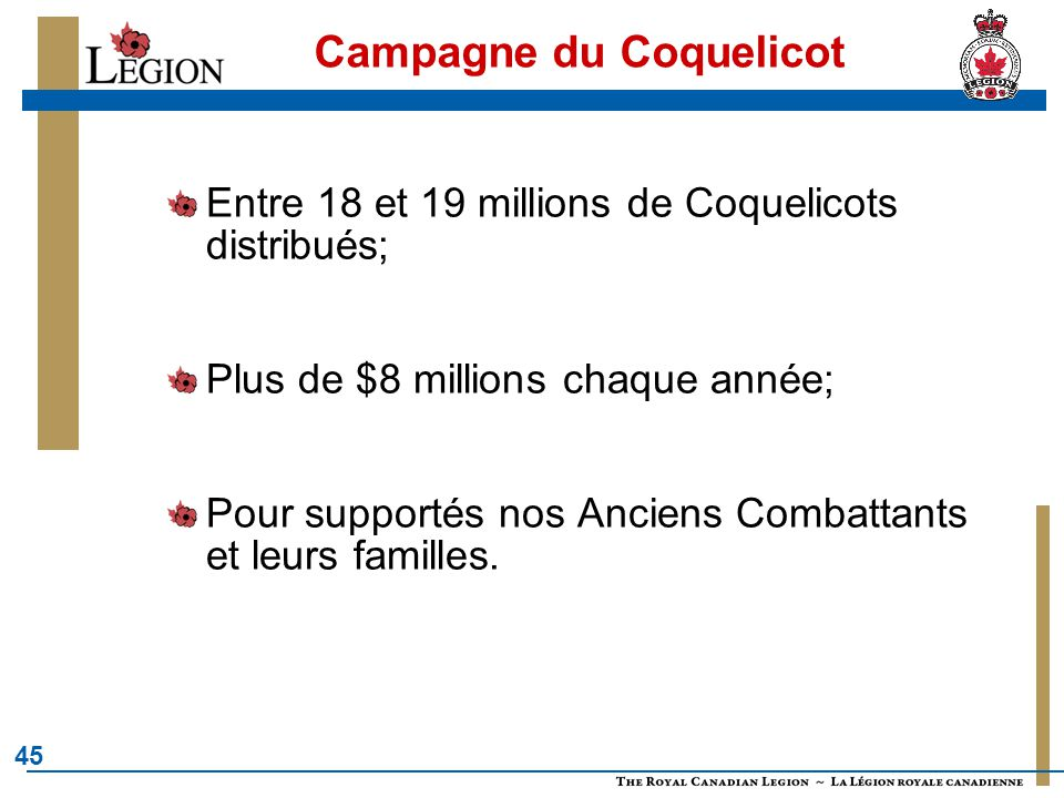 45 Campagne du Coquelicot Entre 18 et 19 millions de Coquelicots distribués; Plus de $8 millions chaque année; Pour supportés nos Anciens Combattants et leurs familles.