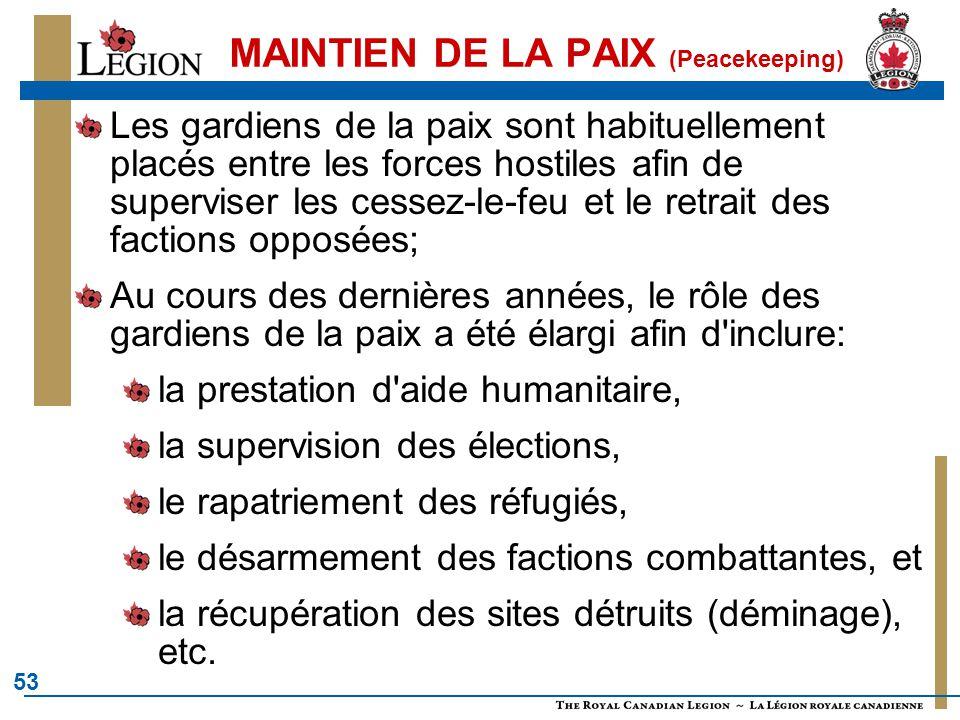 53 MAINTIEN DE LA PAIX (Peacekeeping) Les gardiens de la paix sont habituellement placés entre les forces hostiles afin de superviser les cessez-le-fe
