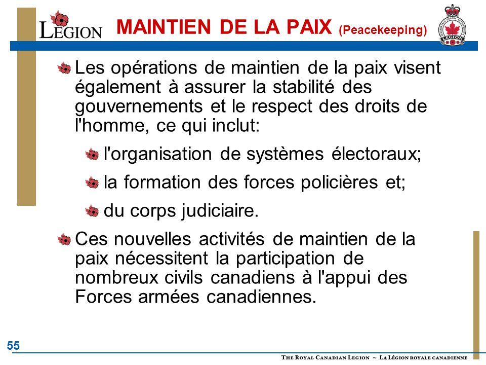 55 MAINTIEN DE LA PAIX (Peacekeeping) Les opérations de maintien de la paix visent également à assurer la stabilité des gouvernements et le respect des droits de l homme, ce qui inclut: l organisation de systèmes électoraux; la formation des forces policières et; du corps judiciaire.