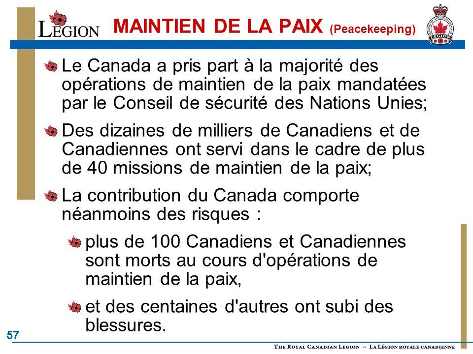 57 MAINTIEN DE LA PAIX (Peacekeeping) Le Canada a pris part à la majorité des opérations de maintien de la paix mandatées par le Conseil de sécurité d