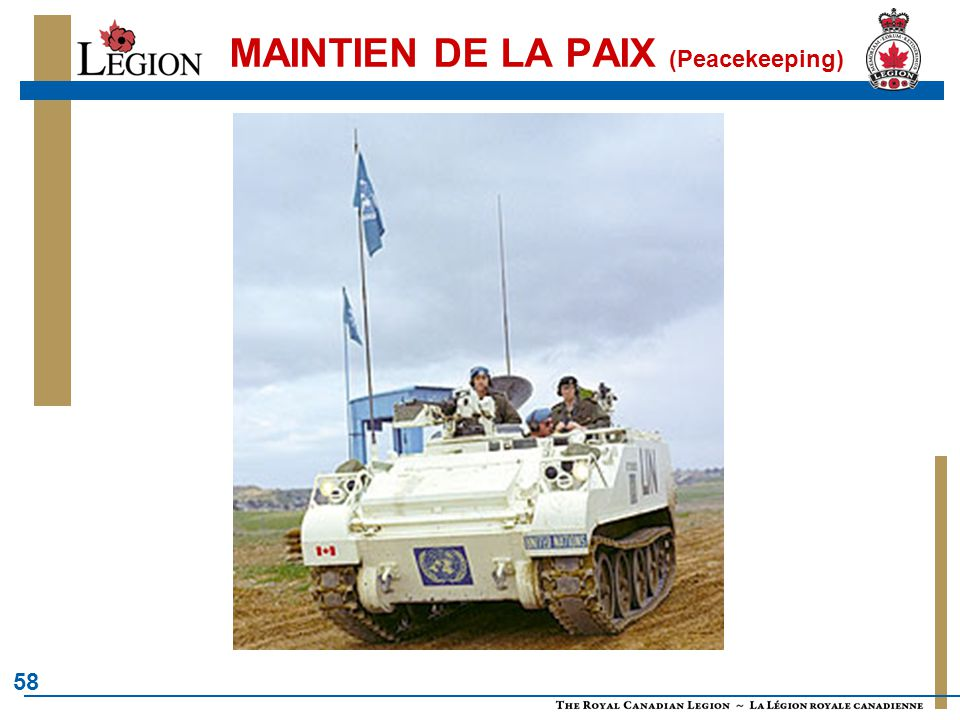 58 MAINTIEN DE LA PAIX (Peacekeeping)