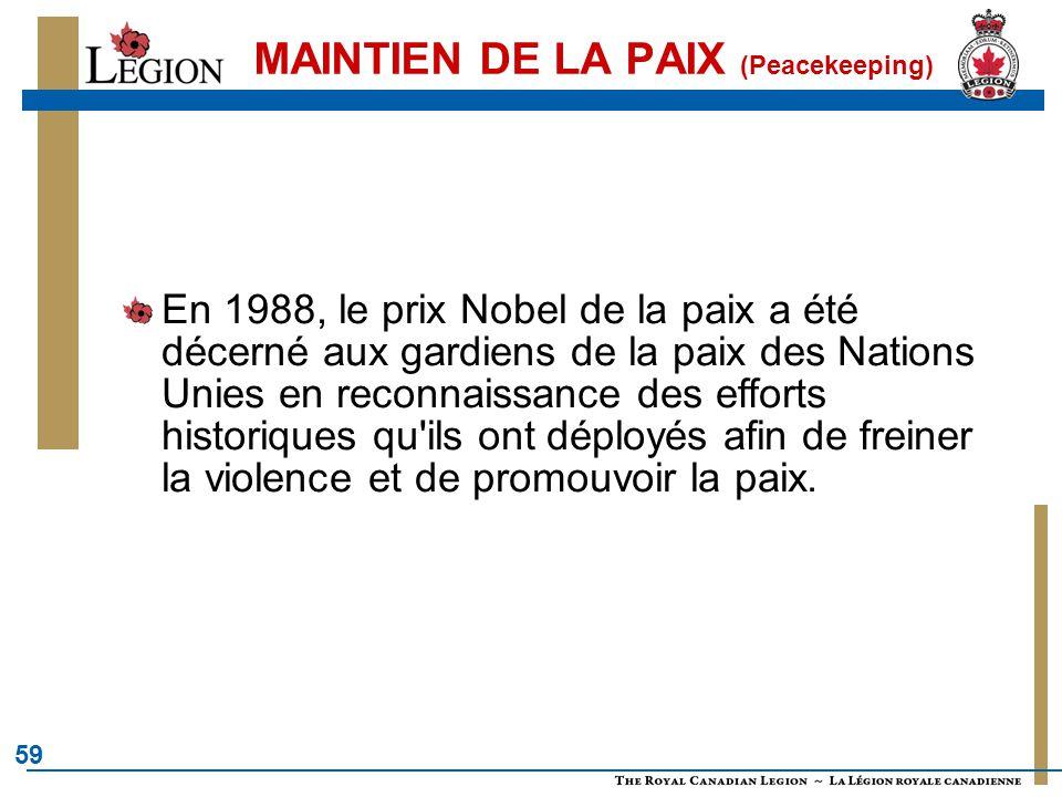 59 MAINTIEN DE LA PAIX (Peacekeeping) En 1988, le prix Nobel de la paix a été décerné aux gardiens de la paix des Nations Unies en reconnaissance des efforts historiques qu ils ont déployés afin de freiner la violence et de promouvoir la paix.