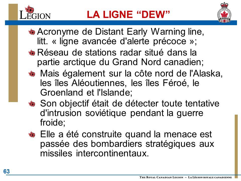 """63 LA LIGNE """"DEW"""" Acronyme de Distant Early Warning line, litt. « ligne avancée d'alerte précoce »; Réseau de stations radar situé dans la partie arct"""