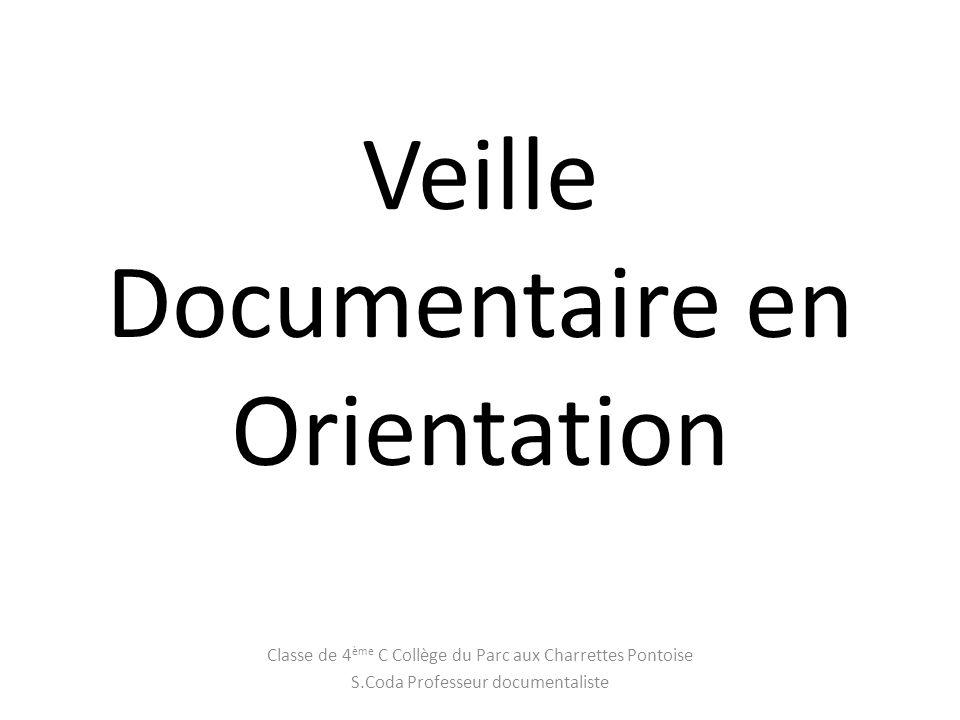 Veille Documentaire en Orientation Classe de 4 ème C Collège du Parc aux Charrettes Pontoise S.Coda Professeur documentaliste