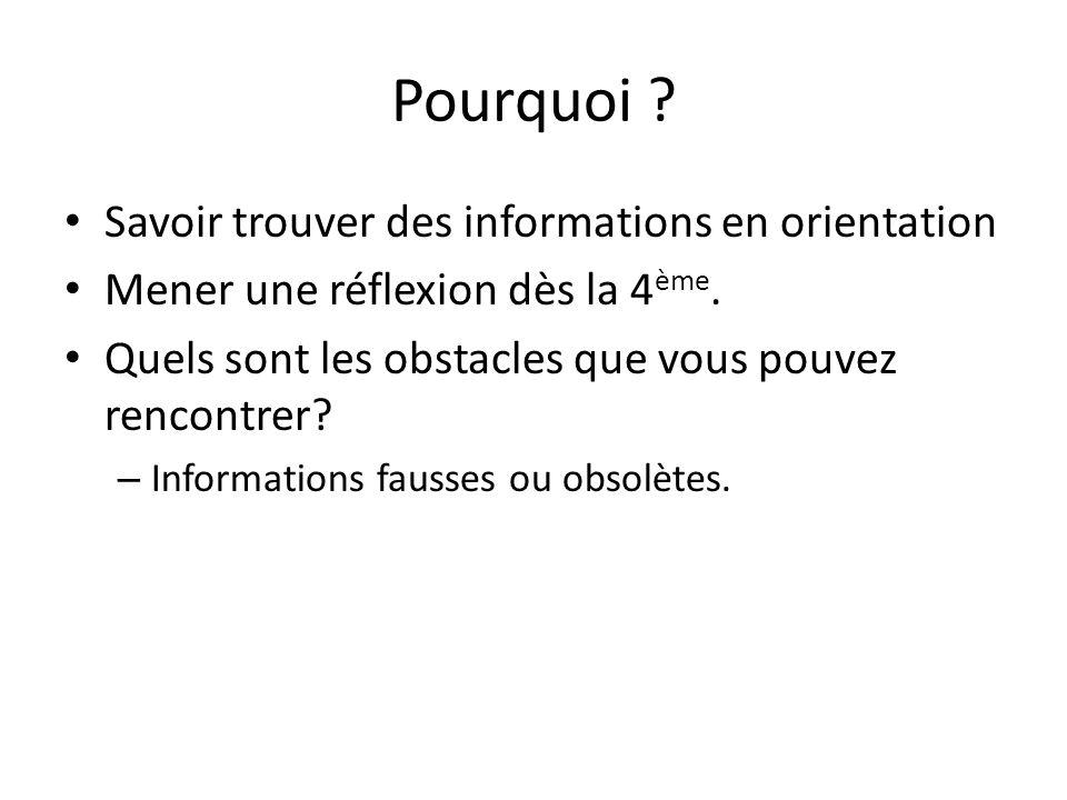 Pourquoi ? • Savoir trouver des informations en orientation • Mener une réflexion dès la 4 ème. • Quels sont les obstacles que vous pouvez rencontrer?