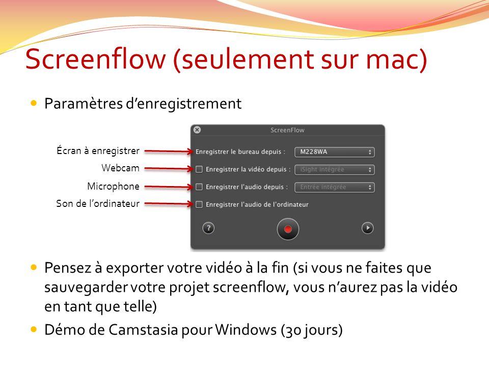 Screenflow (seulement sur mac)  Paramètres d'enregistrement  Pensez à exporter votre vidéo à la fin (si vous ne faites que sauvegarder votre projet