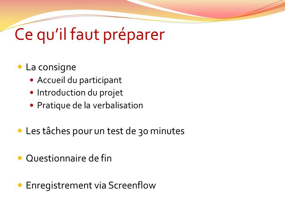 Ce qu'il faut préparer  La consigne  Accueil du participant  Introduction du projet  Pratique de la verbalisation  Les tâches pour un test de 30