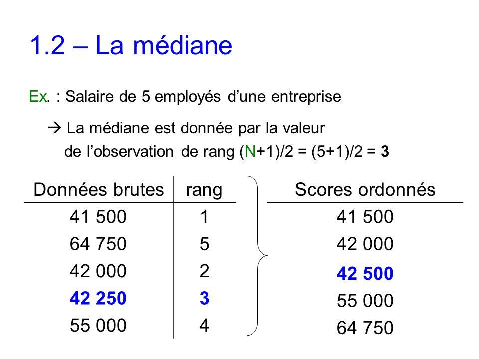 Ex. : Salaire de 5 employés d'une entreprise  La médiane est donnée par la valeur de l'observation de rang (N+1)/2 = (5+1)/2 = 3 Données brutesrang 4