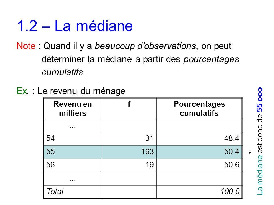 1.2 – La médiane Note : Quand il y a beaucoup d'observations, on peut déterminer la médiane à partir des pourcentages cumulatifs Ex. : Le revenu du mé