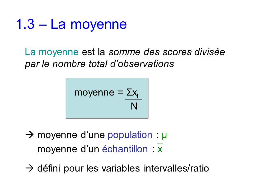 1.3 – La moyenne La moyenne est la somme des scores divisée par le nombre total d'observations moyenne = Σx i N  moyenne d'une population : μ moyenne