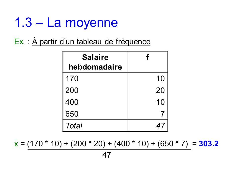 1.3 – La moyenne Ex. : À partir d'un tableau de fréquence x = (170 * 10) + (200 * 20) + (400 * 10) + (650 * 7) = 303.2 47 Salaire hebdomadaire f 17010