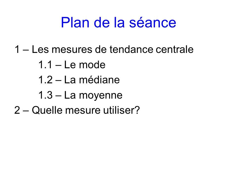 Plan de la séance 1 – Les mesures de tendance centrale 1.1 – Le mode 1.2 – La médiane 1.3 – La moyenne 2 – Quelle mesure utiliser?
