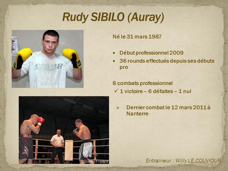 Né le 31 mars 1987  Début professionnel 2009  36 rounds effectués depuis ses débuts pro 8 combats professionnel  1 victoire – 6 défaites – 1 nul 