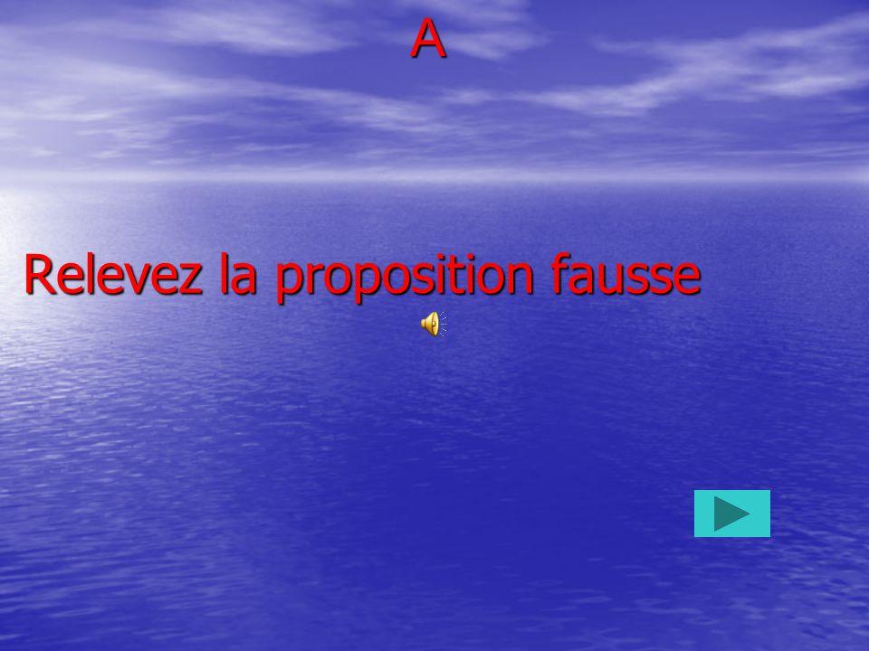 Relevez la proposition fausse A