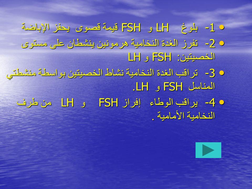 • -1 بلوغ LH و FSH قيمة قصوى يحفز الإباضة • -2 تفرز الغدة النخامية هرمونين ينشطان على مستوى الخصيتين : FSH و LH • -3 تراقب الغدة النخامية نشاط الخصيتين بواسطة منشطتي المناسل FSH و LH.