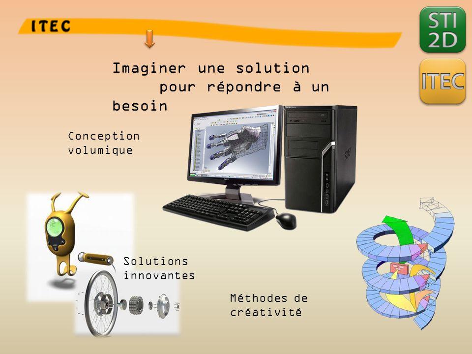 Imaginer une solution pour répondre à un besoin Conception volumique Solutions innovantes Méthodes de créativité