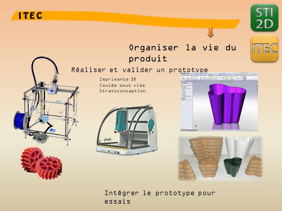 Organiser la vie du produit Réaliser et valider un prototype Imprimante 3D Coulée sous vide Stratoconception Intégrer le prototype pour essais