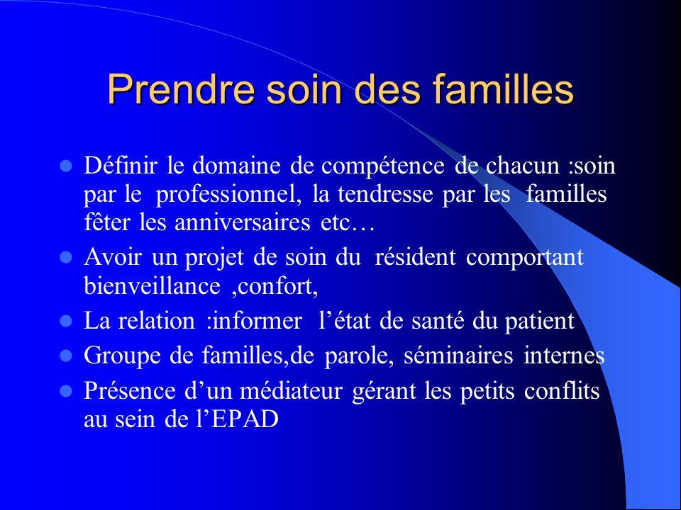 Prendre soin des familles  Définir le domaine de compétence de chacun :soin par le professionnel, la tendresse par les familles fêter les anniversair
