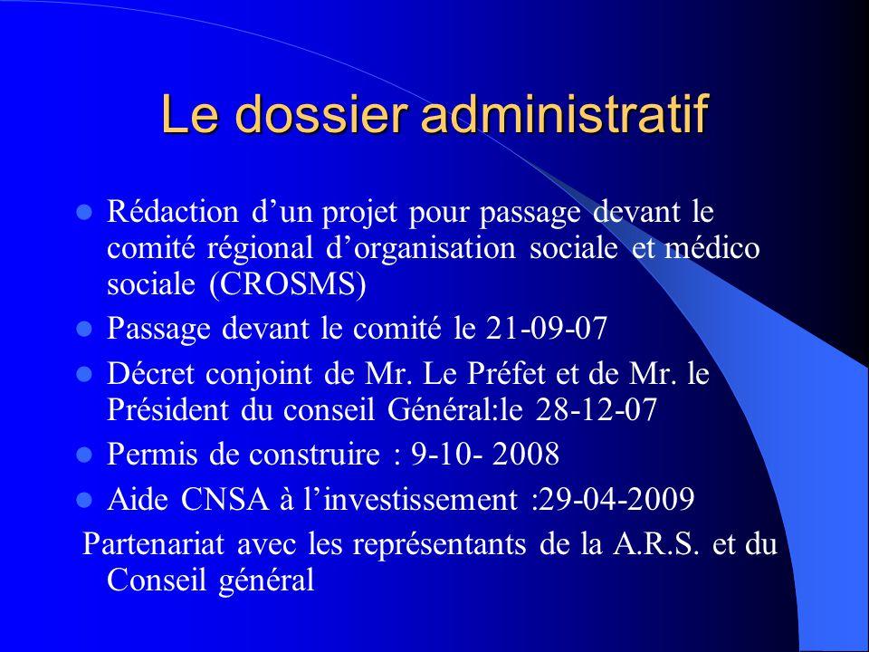 Le dossier administratif  Rédaction d'un projet pour passage devant le comité régional d'organisation sociale et médico sociale (CROSMS)  Passage de