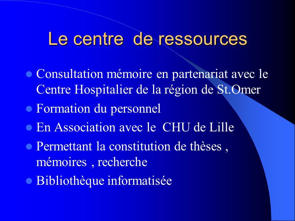 Le centre de ressources  Consultation mémoire en partenariat avec le Centre Hospitalier de la région de St.Omer  Formation du personnel  En Associa