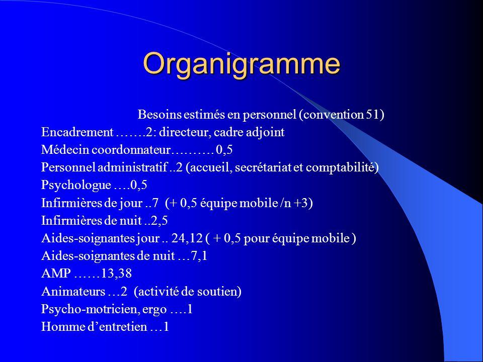 Organigramme Besoins estimés en personnel (convention 51) Encadrement …….2: directeur, cadre adjoint Médecin coordonnateur………. 0,5 Personnel administr