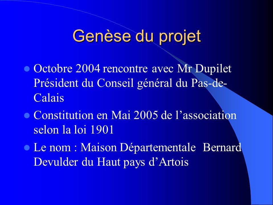 Genèse du projet  Octobre 2004 rencontre avec Mr Dupilet Président du Conseil général du Pas-de- Calais  Constitution en Mai 2005 de l'association s