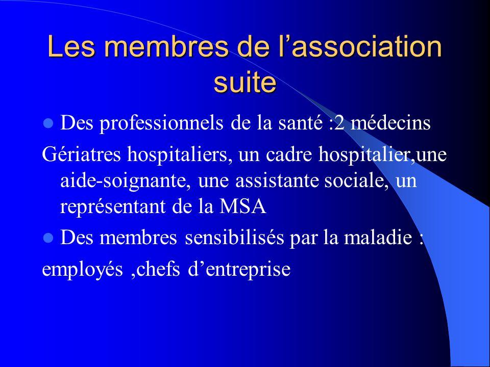 Les membres de l'association suite  Des professionnels de la santé :2 médecins Gériatres hospitaliers, un cadre hospitalier,une aide-soignante, une a