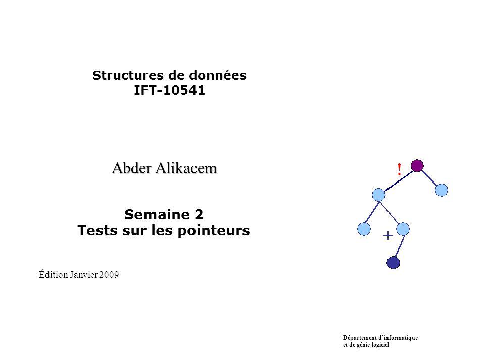 Structures de données IFT-10541 Abder Alikacem Semaine 2 Tests sur les pointeurs Département d'informatique et de génie logiciel Édition Janvier 2009