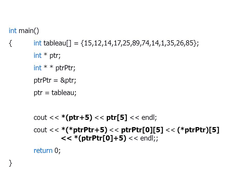 int main() {int tableau[] = {15,12,14,17,25,89,74,14,1,35,26,85}; int * ptr; int * * ptrPtr; ptrPtr = &ptr; ptr = tableau; cout << *(ptr+5) << ptr[5] << endl; cout << *(*ptrPtr+5) << ptrPtr[0][5] << (*ptrPtr)[5] << *(ptrPtr[0]+5) << endl;; return 0; }
