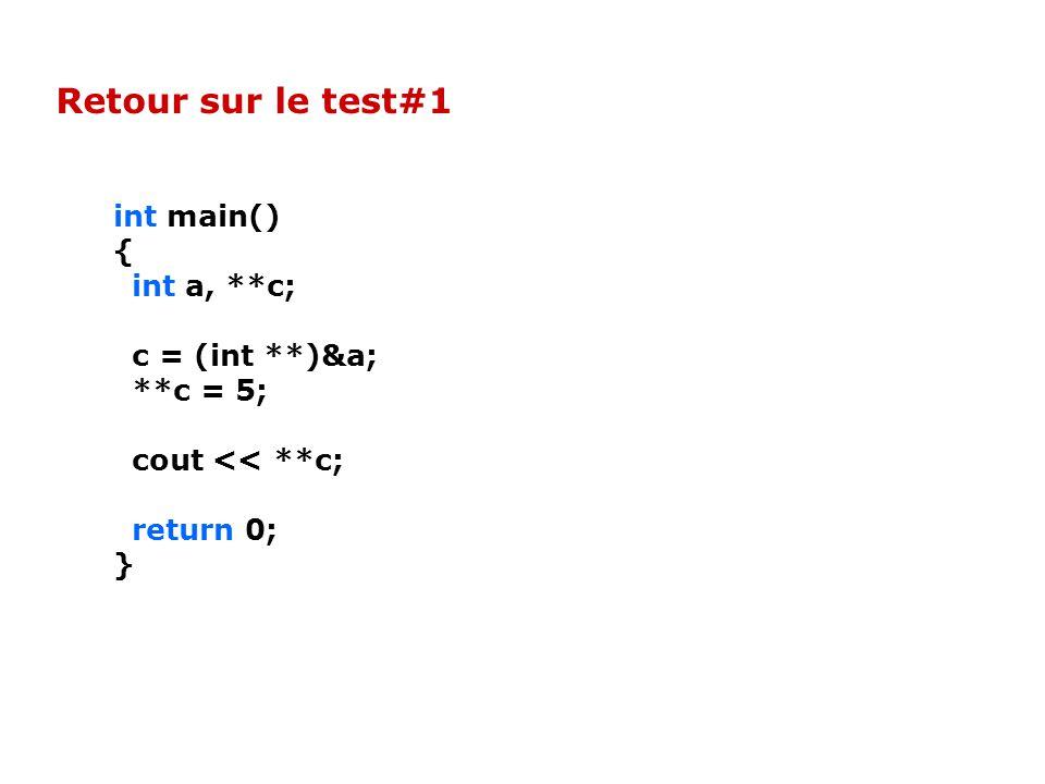 int main() { int a, **c; c = (int **)&a; **c = 5; cout << **c; return 0; } Retour sur le test#1
