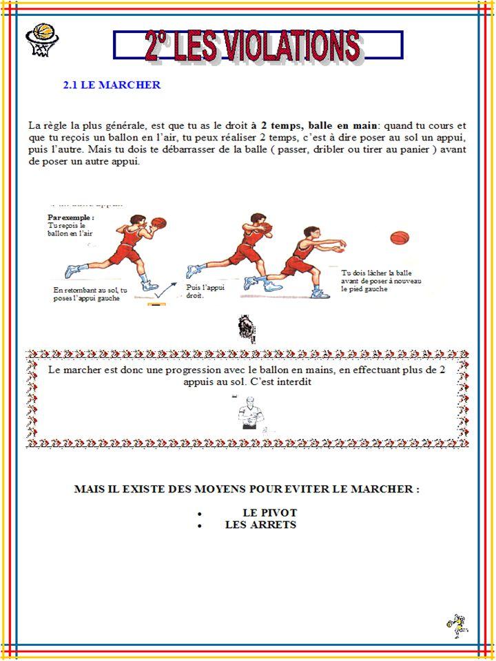 2.1 LE MARCHER La règle la plus générale, est que tu as le droit à 2 temps, balle en main: quand tu cours et que tu reçois un ballon en l air, tu peux réaliser 2 temps, c est à dire poser au sol un appui, puis l autre.