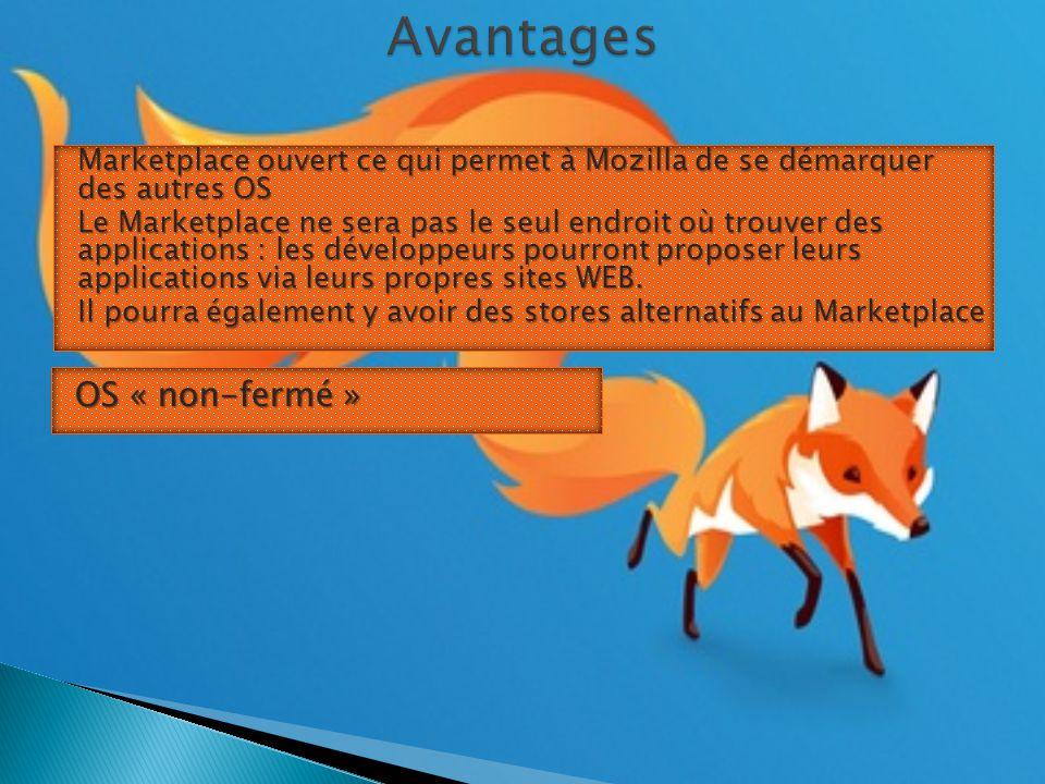 Marketplace ouvert ce qui permet à Mozilla de se démarquer des autres OS Le Marketplace ne sera pas le seul endroit où trouver des applications : les développeurs pourront proposer leurs applications via leurs propres sites WEB.