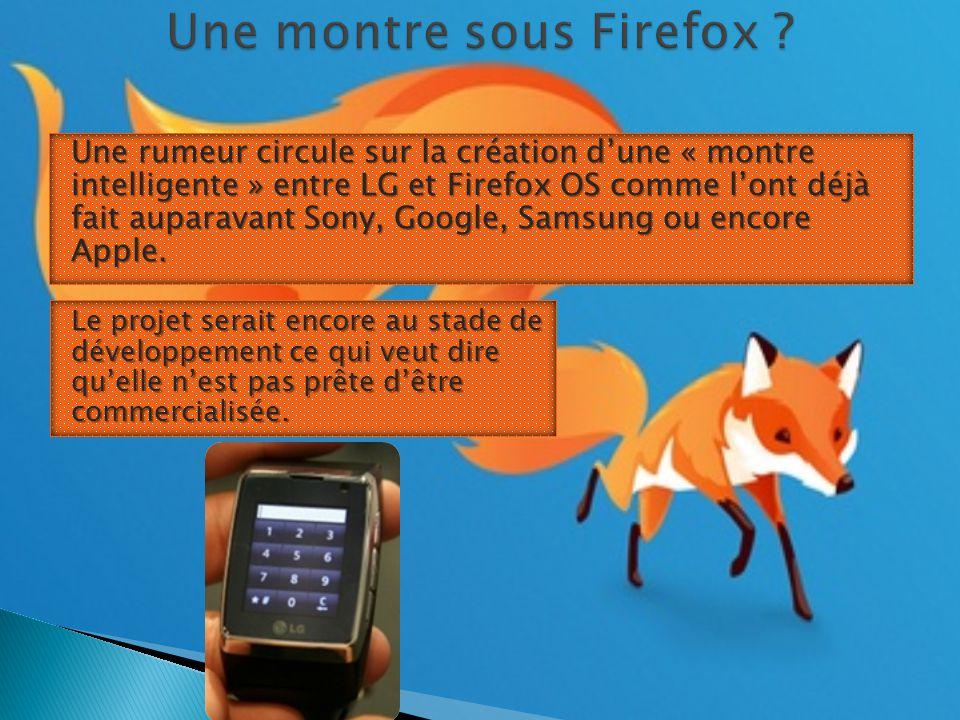 Une rumeur circule sur la création d'une « montre intelligente » entre LG et Firefox OS comme l'ont déjà fait auparavant Sony, Google, Samsung ou encore Apple.