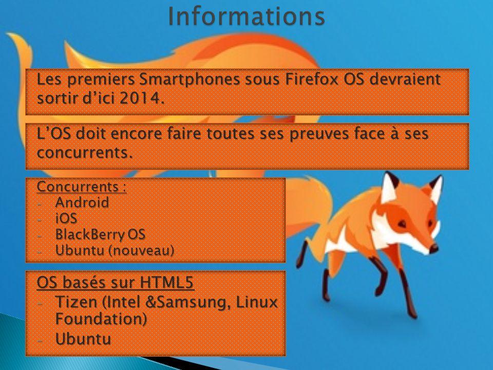 Les premiers Smartphones sous Firefox OS devraient sortir d'ici 2014.
