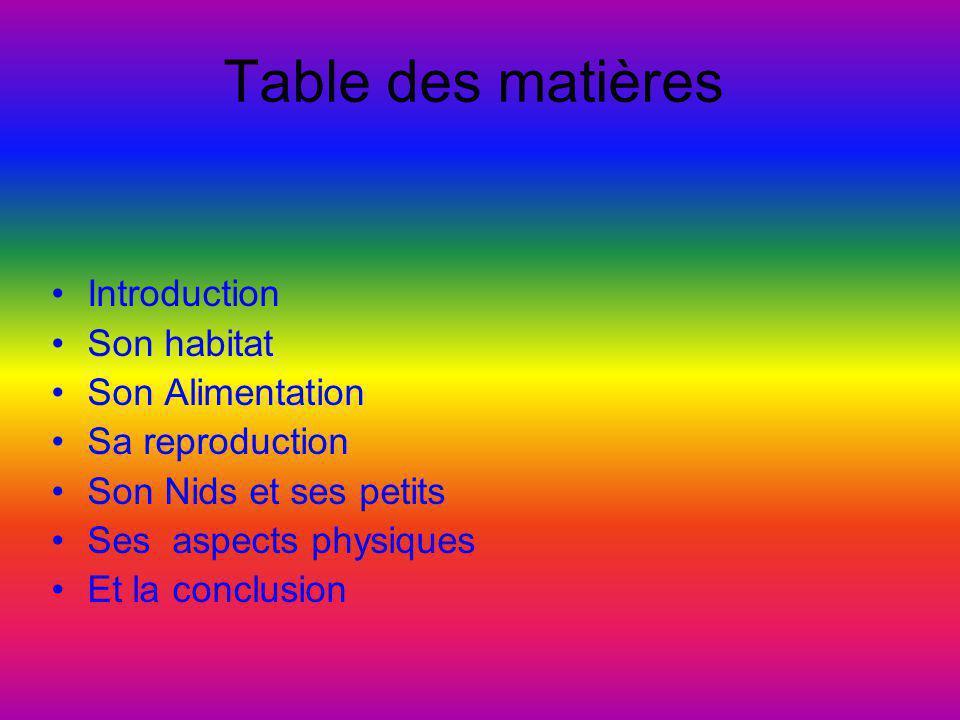 Table des matières •Introduction •Son habitat •Son Alimentation •Sa reproduction •Son Nids et ses petits •Ses aspects physiques •Et la conclusion