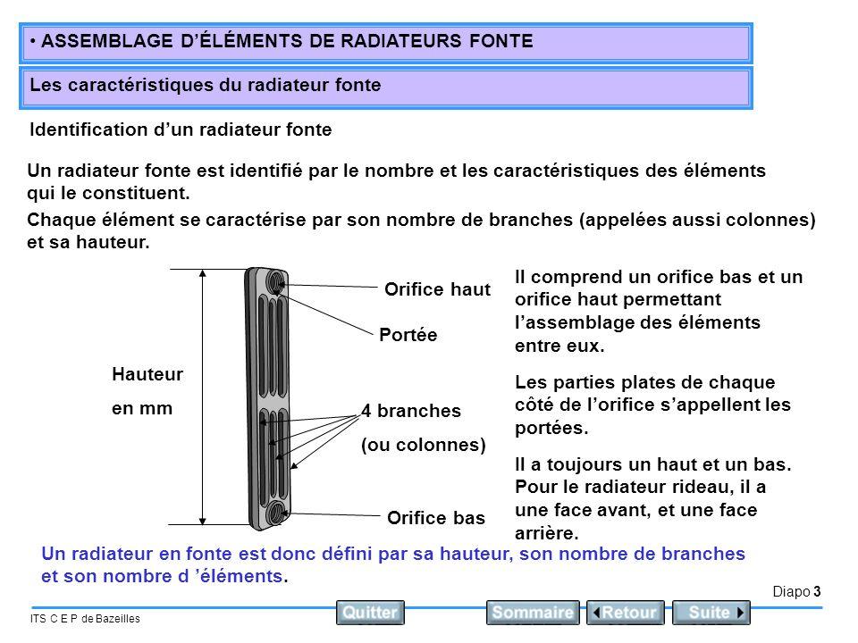 Diapo 3 ITS C E P de Bazeilles • ASSEMBLAGE D'ÉLÉMENTS DE RADIATEURS FONTE Les caractéristiques du radiateur fonte Identification d'un radiateur fonte
