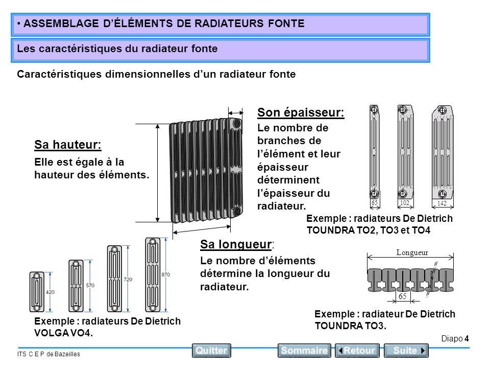 Diapo 4 ITS C E P de Bazeilles • ASSEMBLAGE D'ÉLÉMENTS DE RADIATEURS FONTE Les caractéristiques du radiateur fonte Caractéristiques dimensionnelles d'
