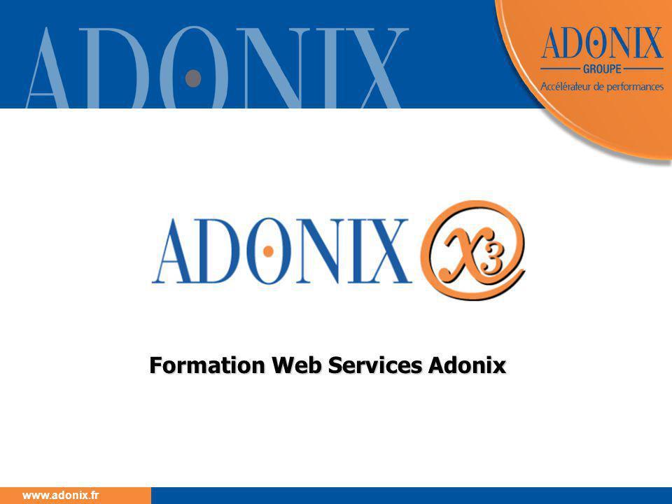 Groupe ADONIX // 62 www.adonix.fr 4.4.2 Test avec l'applicatif Programmes wrapper  Ils sont générés lors de la publication d'un objet ou d'un sous programme  WJ »Nom d'objet » « nom de variante » pour les objets sans publication des champs invisibles  WJ « Nom d'objet » « nom de variante »_I pour les objets avec publication des champs invisibles  WR « Nom de publication » pour les sous-programmes  Ils constituent une interface entre le développement X3 et le serveur de Web services.