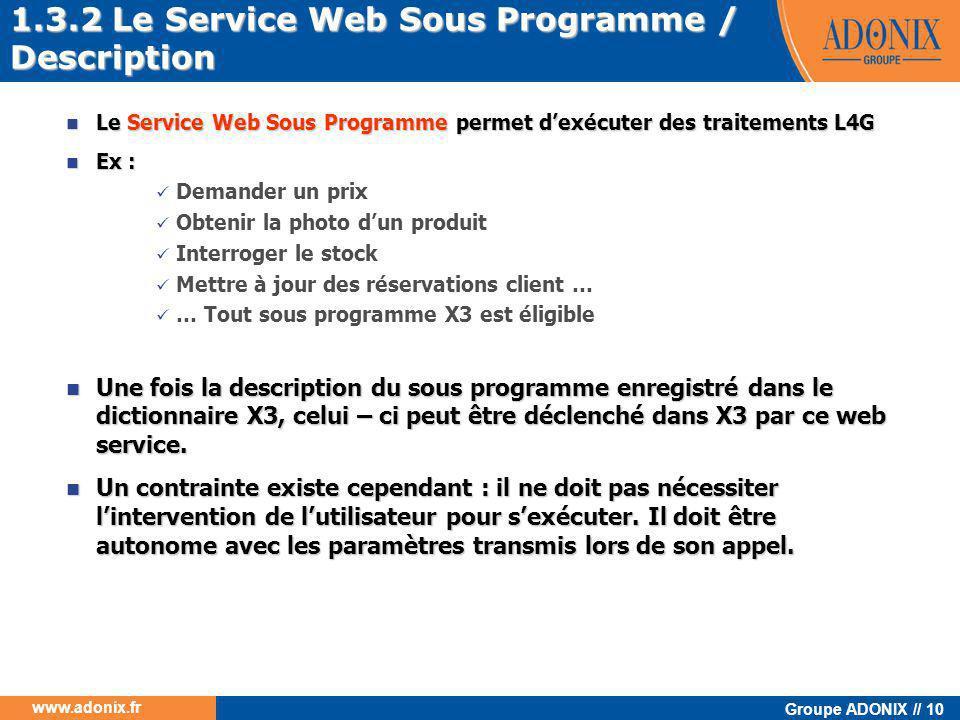 Groupe ADONIX // 10 www.adonix.fr  Le Service Web Sous Programme permet d'exécuter des traitements L4G  Ex :  Demander un prix  Obtenir la photo d