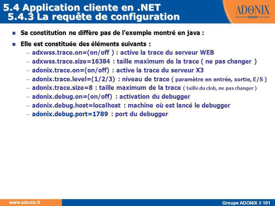 Groupe ADONIX // 101 www.adonix.fr 5.4.3 La requête de configuration  Sa constitution ne diffère pas de l'exemple montré en java :  Elle est constit