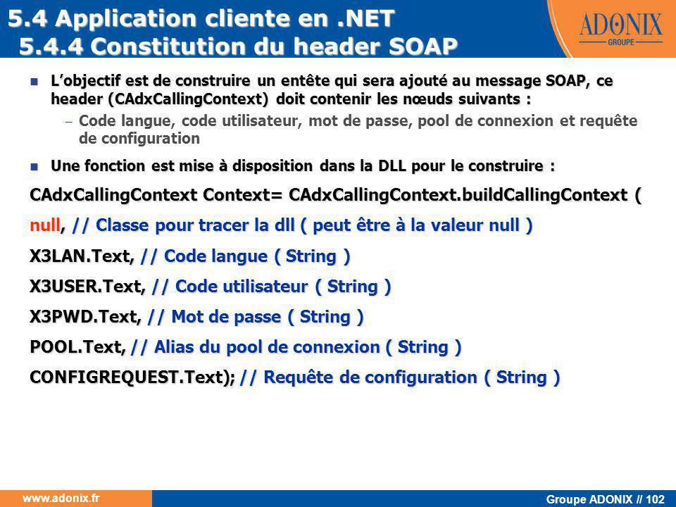 Groupe ADONIX // 102 www.adonix.fr 5.4.4 Constitution du header SOAP  L'objectif est de construire un entête qui sera ajouté au message SOAP, ce head
