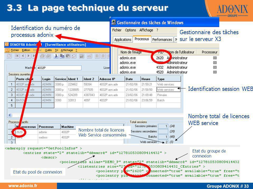 Groupe ADONIX // 33 www.adonix.fr 3.3 La page technique du serveur Identification du numéro de processus adonix Gestionnaire des tâches sur le serveur