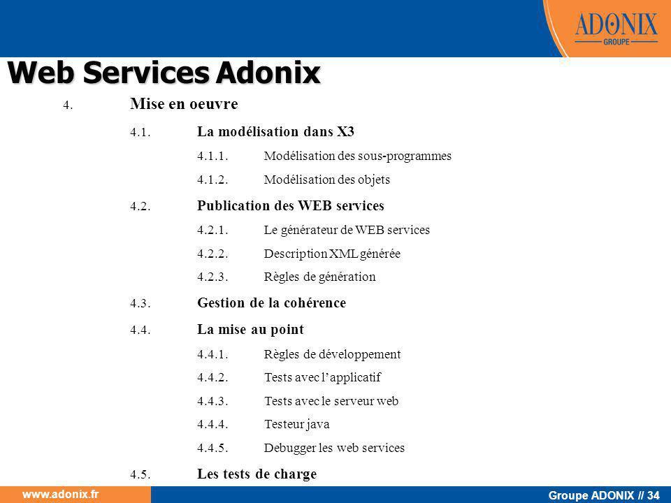 Groupe ADONIX // 34 www.adonix.fr 4. Mise en oeuvre 4.1. La modélisation dans X3 4.1.1.Modélisation des sous-programmes 4.1.2.Modélisation des objets