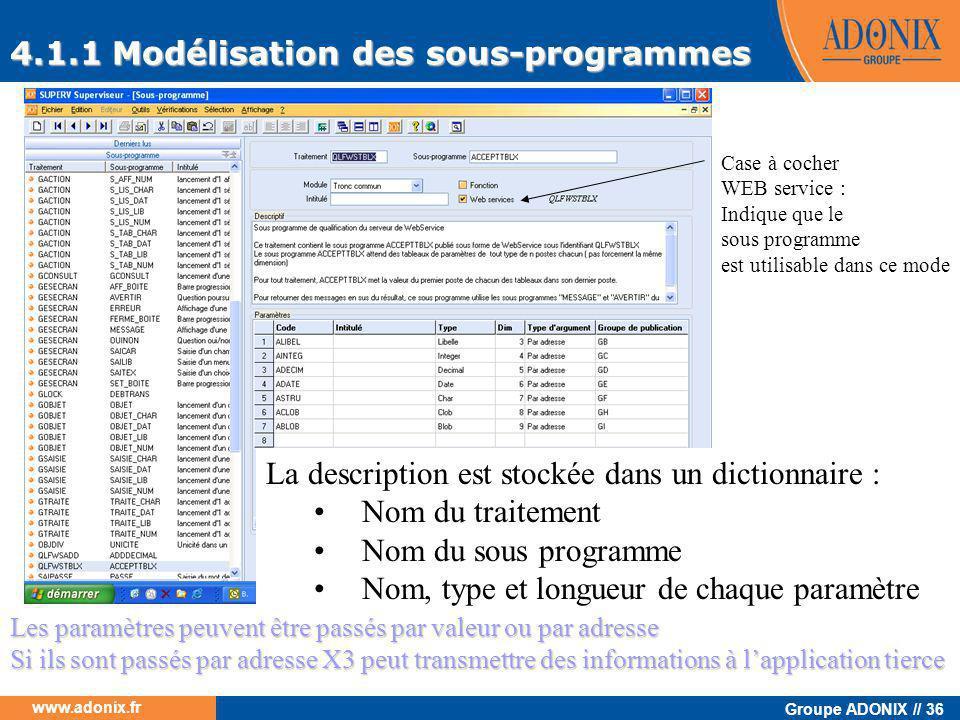 Groupe ADONIX // 36 www.adonix.fr 4.1.1 Modélisation des sous-programmes La description est stockée dans un dictionnaire : •Nom du traitement •Nom du